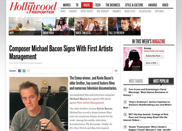 hollywood reporter covers michael bacon signing with first artists management